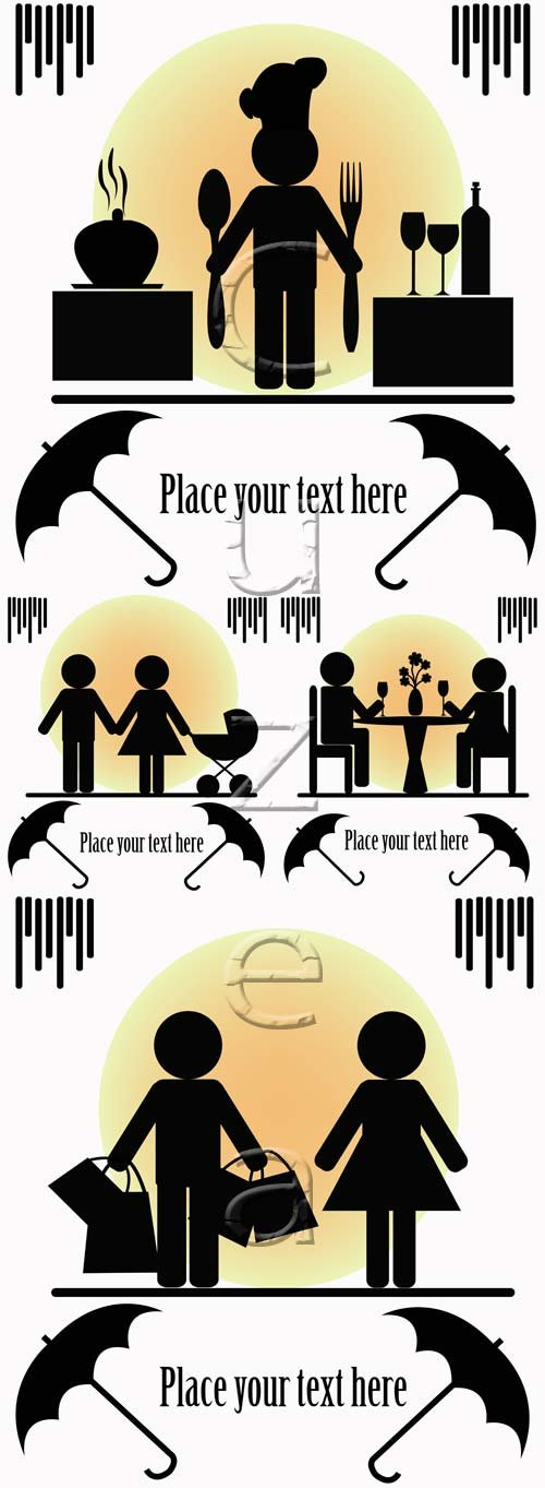 Людские ситуэты и место для текста / People vector sihouettes and place for text, 4