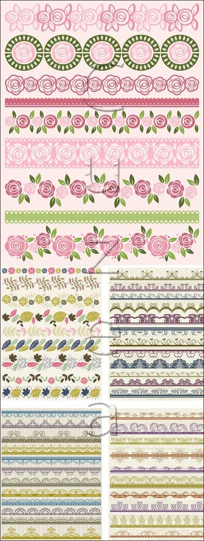 Цветочные декоративные элементы в векторе / Decor floral ornaments in vector