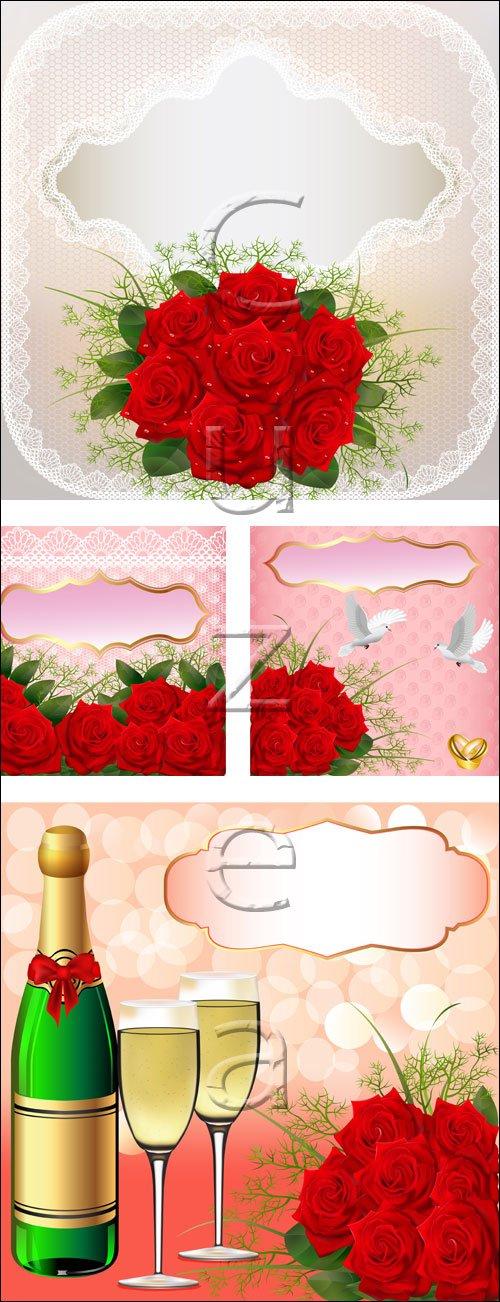 Свадебные фоны с красными розами / wedding  background with red roses - vector stock