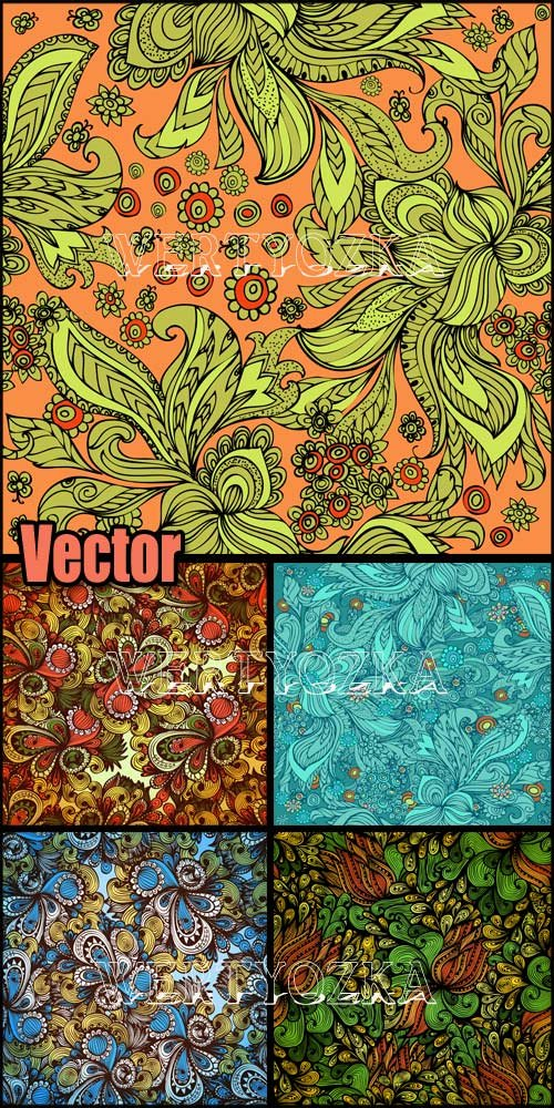 Фоны с красочными яркими узорами / Background with colorful bright patterns - vector clipart