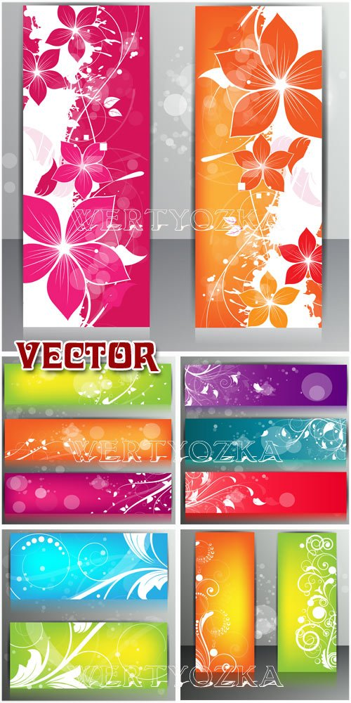 Баннеры с цветами и узорами  / Banners with the colors and patterns - vector clipart