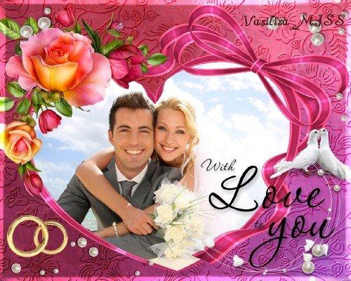 Свадебная фоторамка голуби, рамка - сердечко и романтический декор