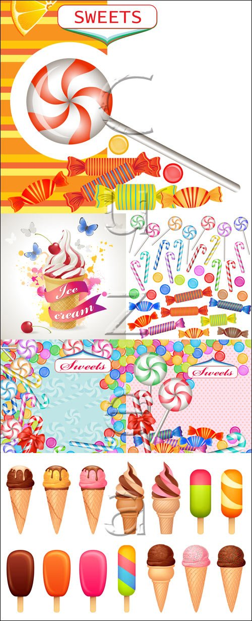 Конфеты, мороженное и сладости в векторе / Candies, ice cream and sweets in vector