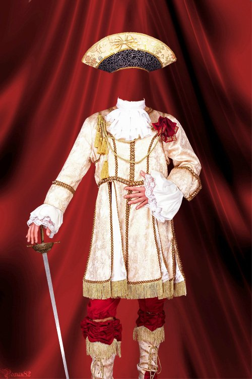 Красивый старинный костюм прошлых лет - шаблон фотошоп