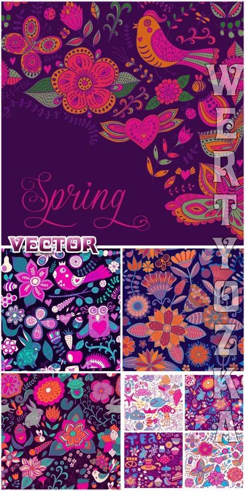 Векторные фоны с разноцветными цветочками и птицами / Vector background with multicolored flowers and birds