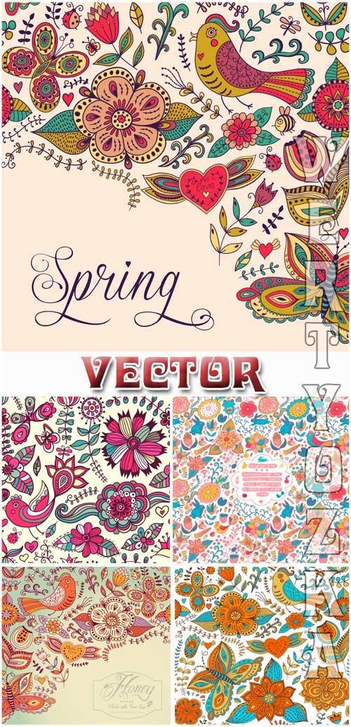 Векторные фоны с разноцветными цветочными орнаментами / Vector background with colorful flower designs