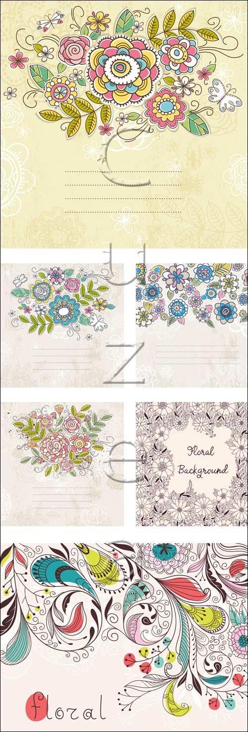 Цветочные фоны с местом для текста / Floral  backgrounds with place for text - vector stock