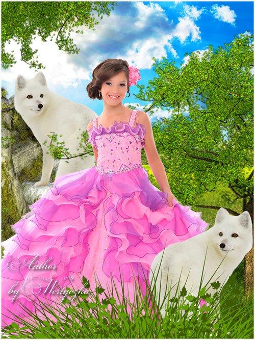 Девочка и белые волки - детский шаблон для фотошопа