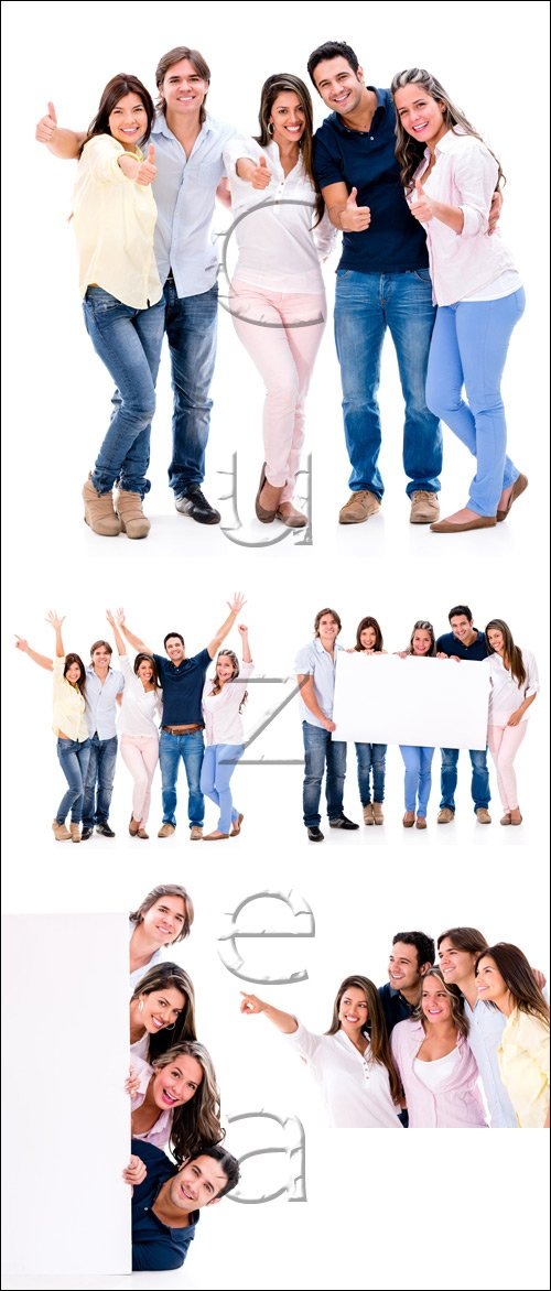 Счастливые молодые люди с баннерами / Happy young people with white banners on white - stock photo