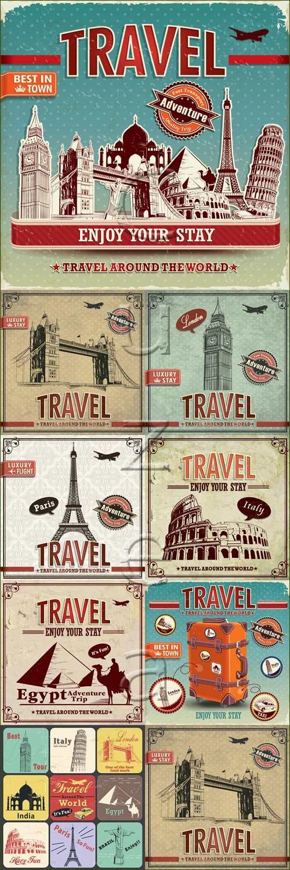 Туристические фоны с достопримечательстями / Travel backgrouns with world monuments - vector stock