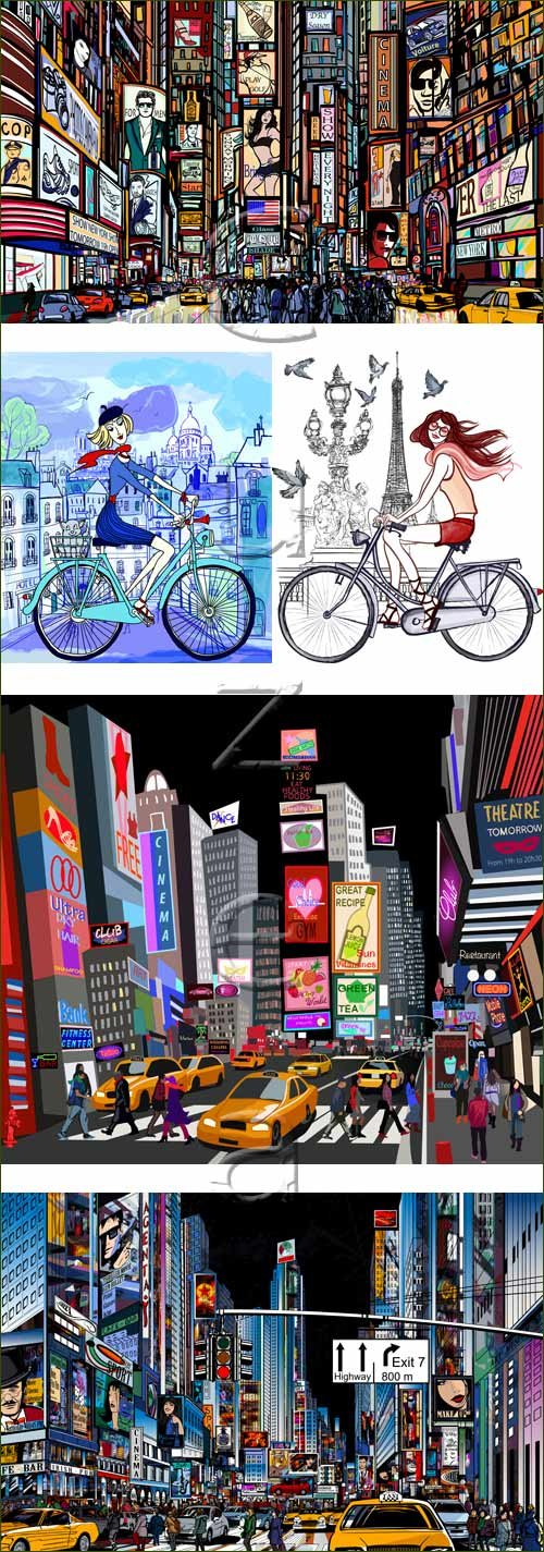 Ночной пейзаж города и девушки в векторе / Nigth town and girls - vector stock