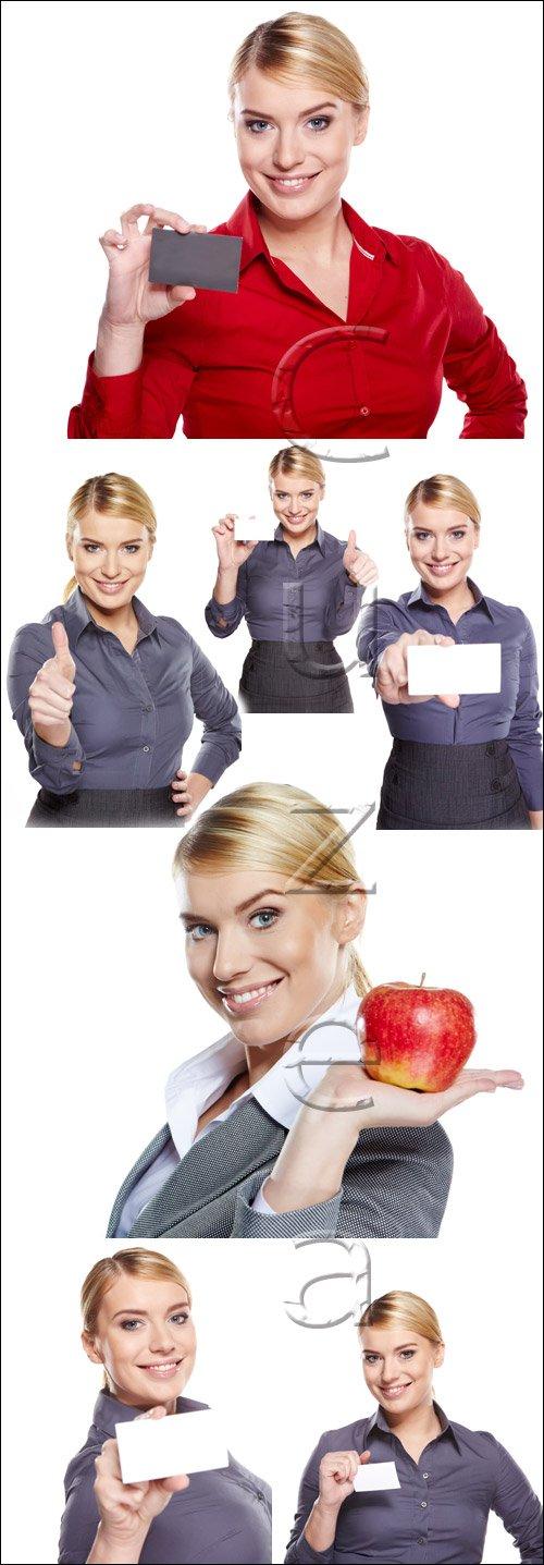 Бизнеследи с карточками в руке / Business girl with white card on white - stock ptoto