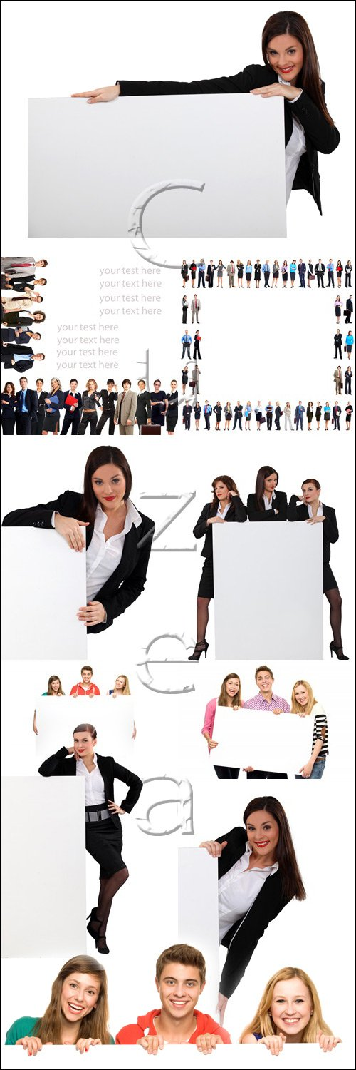 Люди в цветной одежде с белыми баннерами / People in color clothers with banners on white - stock photo