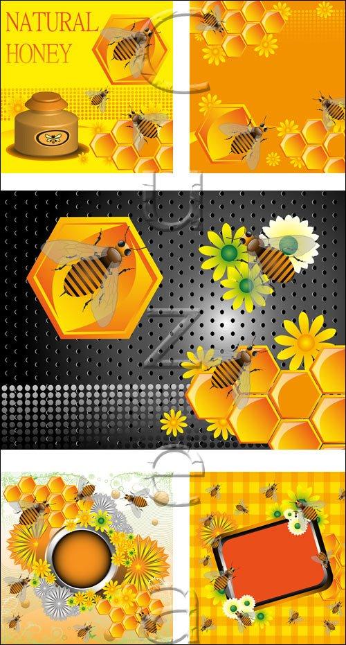 Фоны с мёдом и пчёлами в векторе / Natural honey backgrounds in vector