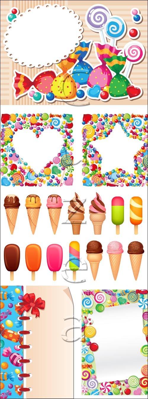 Фоны со сладостями в векторе / Candy sweet backgrounds - vector stock