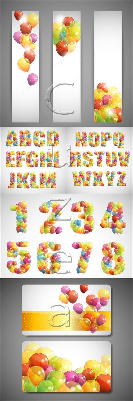 Праздничные баннеры с воздушными шарами в векторе / Holiday banners with ballons and alfabet - vector stock