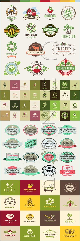 Органические стикера в векторе / Organic colections of labels - vector stock