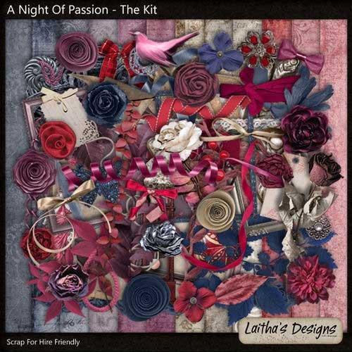 Винтажный романтический скрап-комплект - Ночь страсти