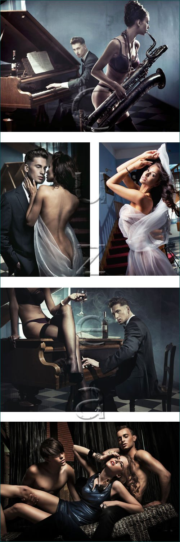 Влюбленные и игра на фортепиано / Couple and piano music - stock photo
