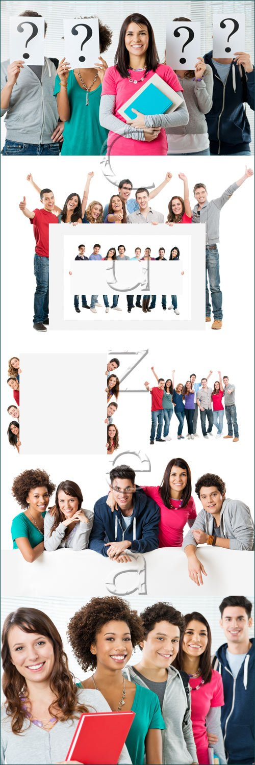 Студенты, 3 / Students in color clothers on wtite, part 3 - stock photo