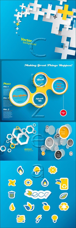 Инфографика, иконки и абстракция / Infographic elements, icons and abstraction - vector stock