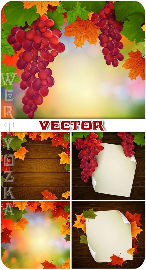 Гроздья винограда, осенние листья / Bunches of grapes, autumn leaves - vector
