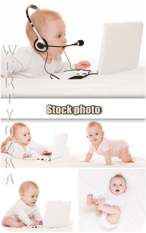 Забавный малыш с ноутбуком / Funny kid with a notebook - Raster clipart