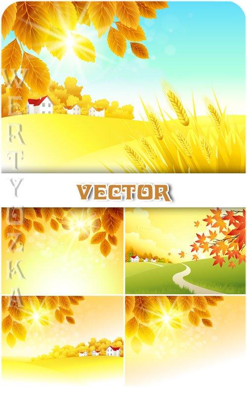Осенние природные фоны, пейзаж / Autumn natural background, landscape - vector