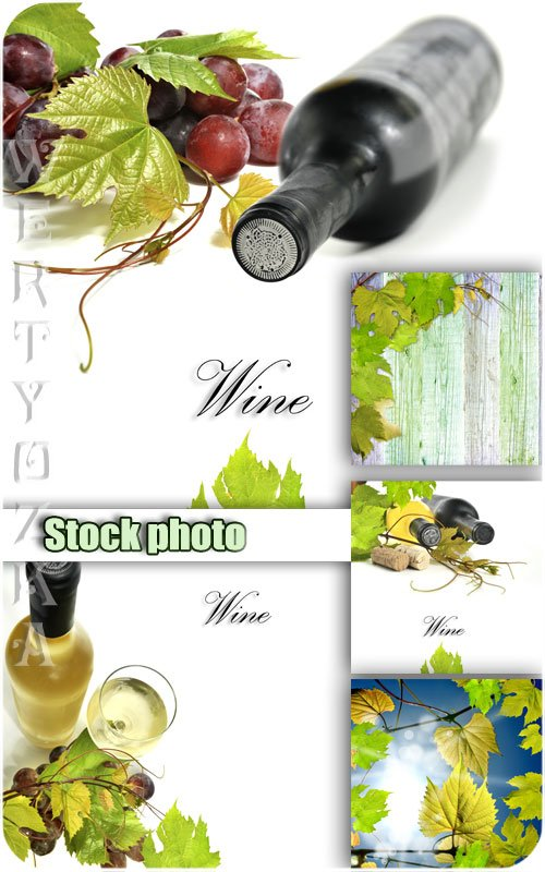 Вино, виноград, виноградные листья / Wine, grapes, grape leaves - Raster clipart