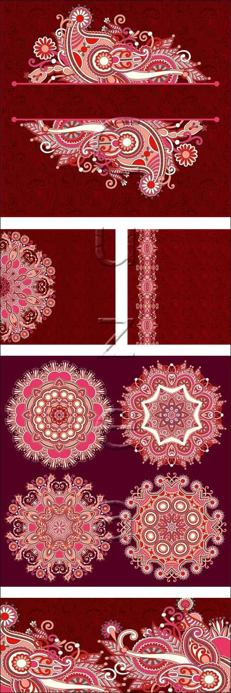 Винтажные орнаменты на красных фонах / Red vintage background with ornaments - vector stock