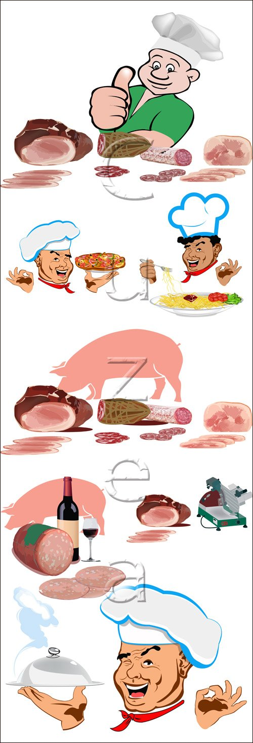 овар и мясная продукция / Cook and meat produced - vector stock