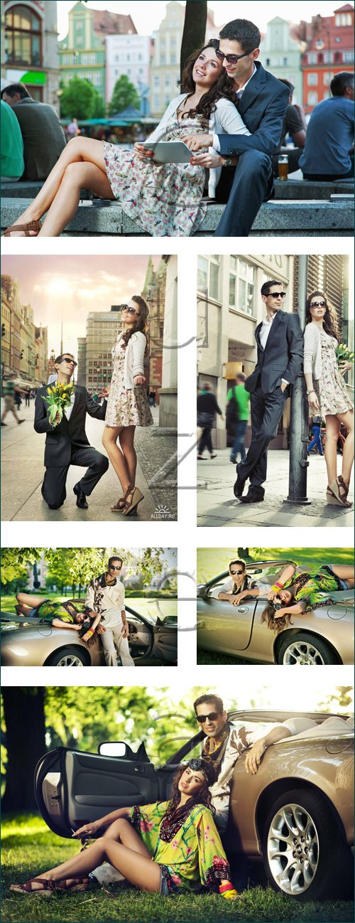 Влюбленные на летнем лугу / Couple on summer time - stock photo