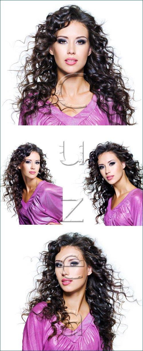 Брюнетка в сиреневом платье / Brunette girl in violet dress - stock photo