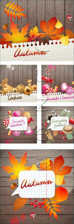 Осенние и фоны со сладостями / Autumn and sweet backgrounds - vector stock