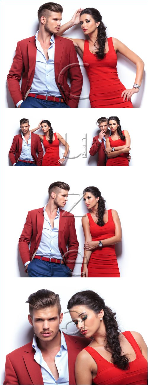 Влюбленная пара на белом фоне /Couple man and woman on white - stock photo