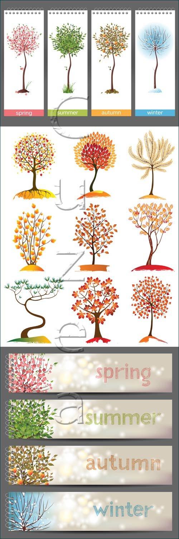 Векторные времена года и деревья / Seasons banners and vector tree