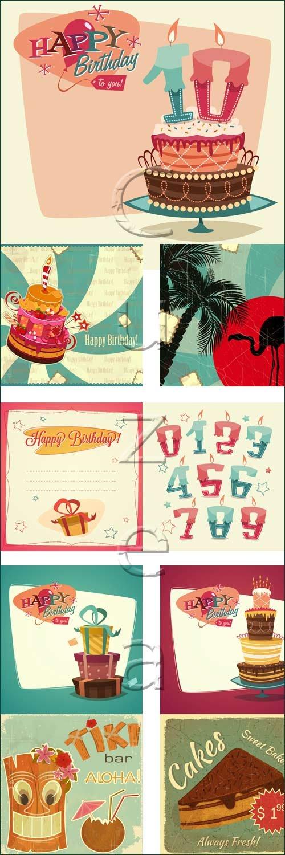 Винтажные поздравительные с подарками / Retro vintage happy birthday card with gifts - vector stock