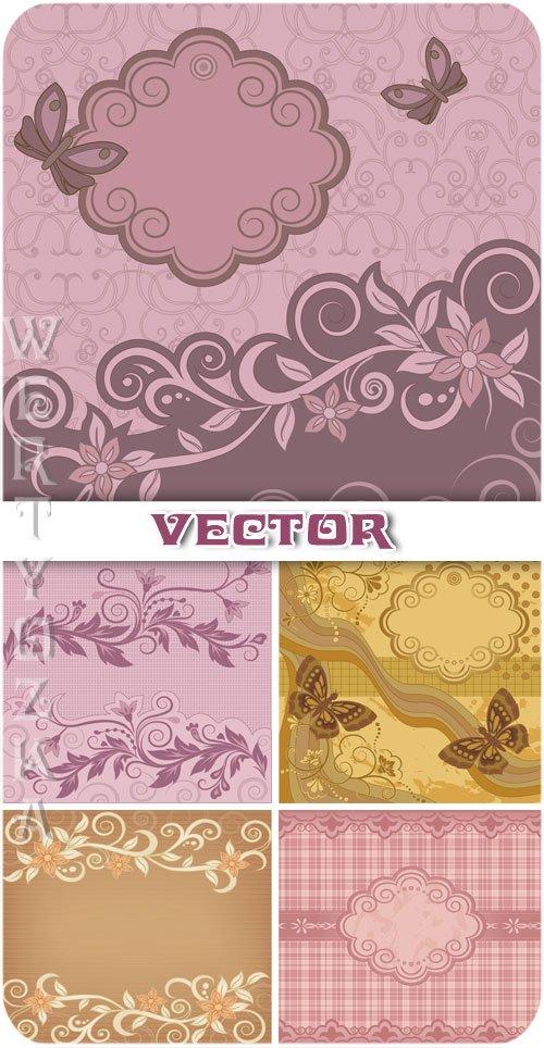 Винтажные векторные фоны с цветами и узорами / Vintage vector background with flowers and ornaments