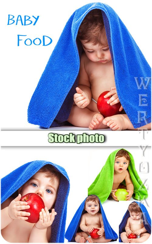 Ребенок с яблоком / Baby with an apple - Raster clipart