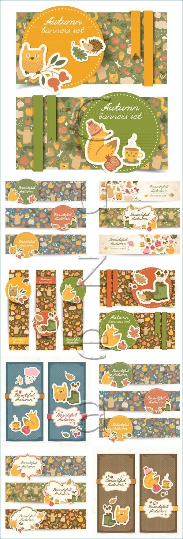 Осенние баннеры с желтыми листьями и животными в векторе / Autumn banners with leaves and animals - vector stock