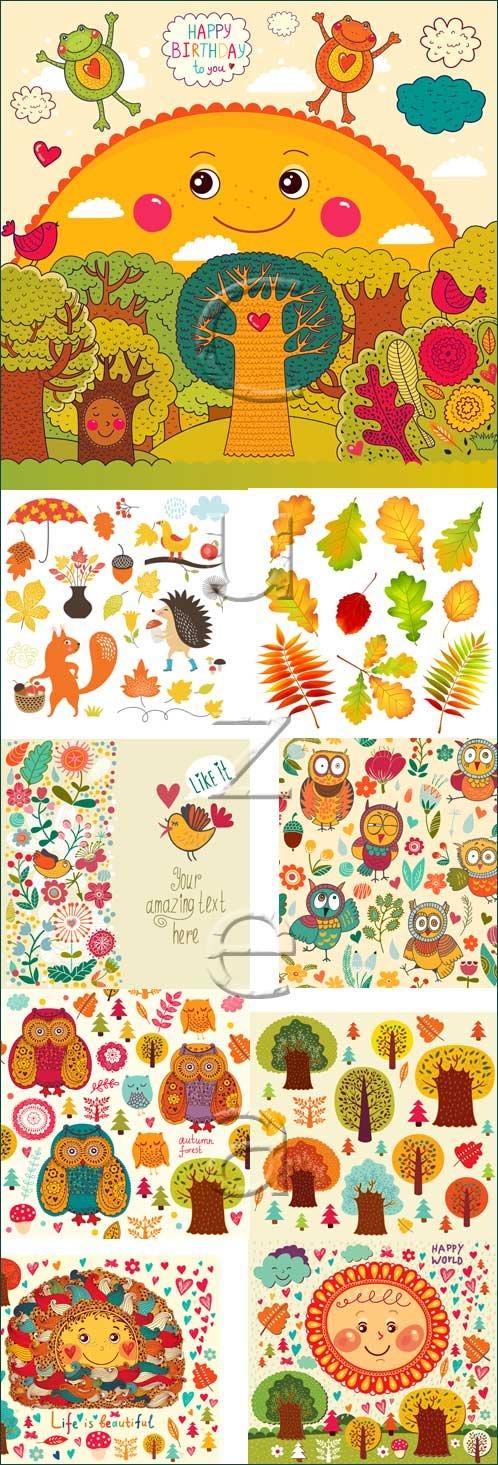Осенний детский набор / Autumn children set - vector stock