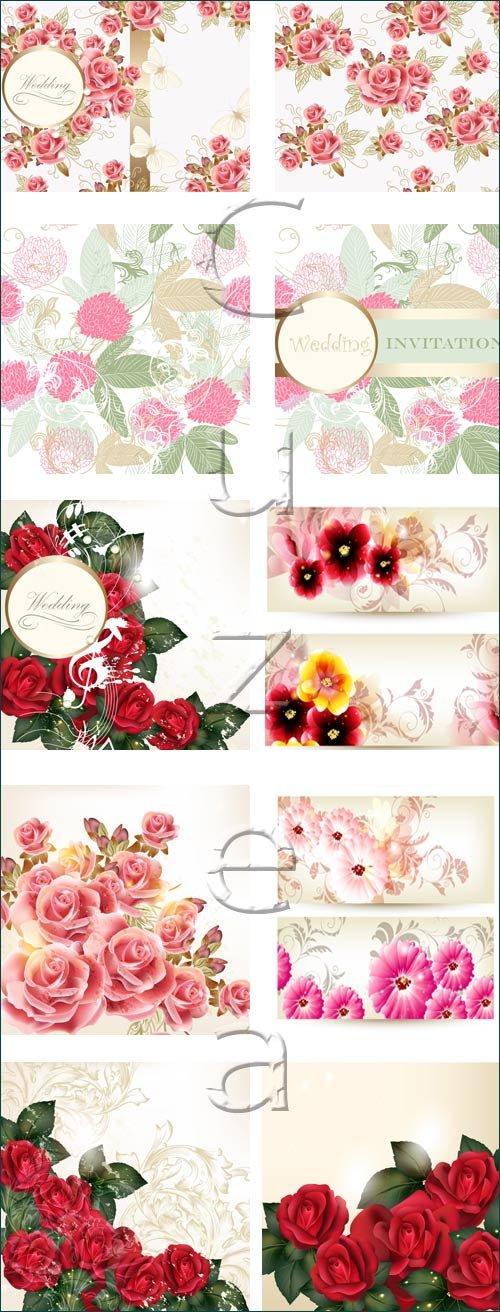 Розы на свадебных пригласительных / Rose on wedding invitation - vector stock