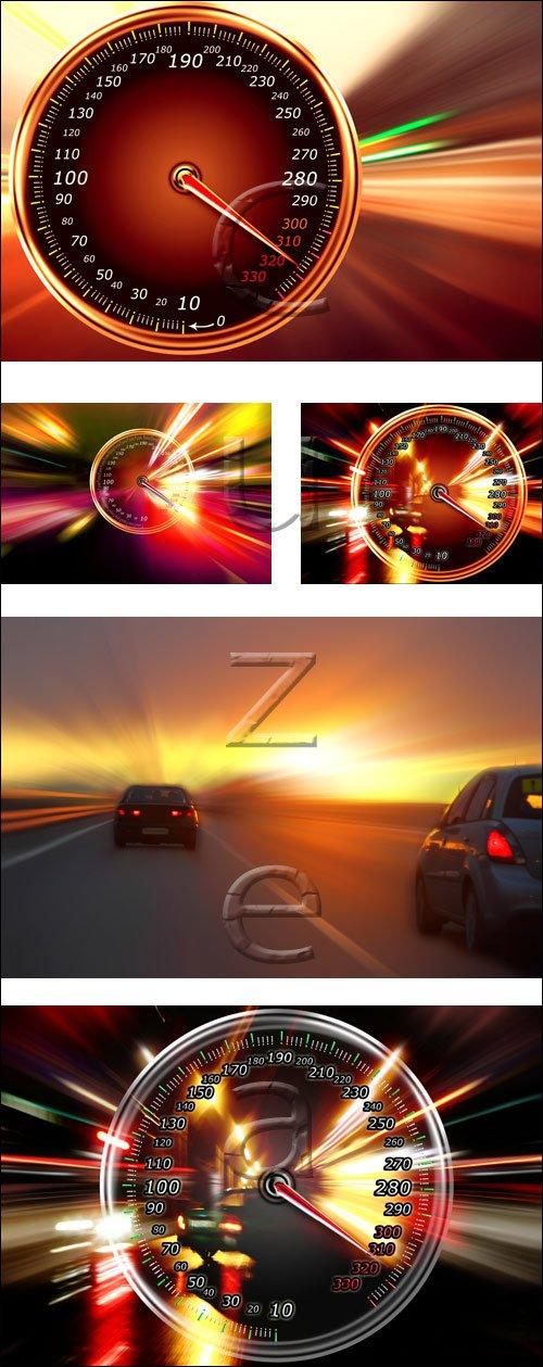 Автомобильный спидометр и скорость / Car and speed - stock photo