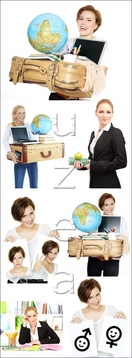 Девушка с глобусом / Womans ang globe - stock photo