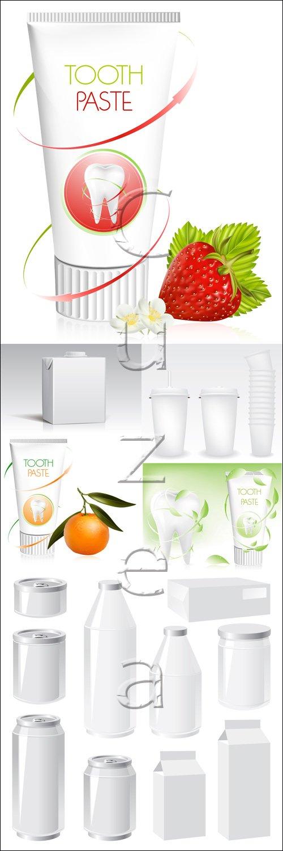 Зубная паста и платиковая упаковка / Toothpaste and plastic packing - vector stock