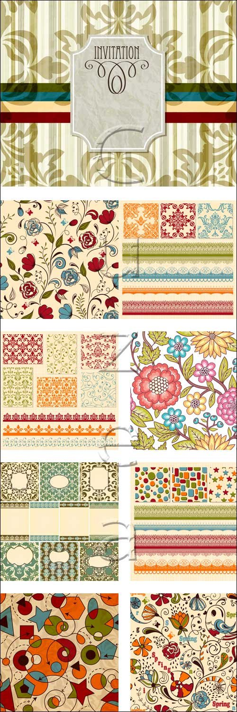 Виртажные цветные орнаменты / Vintage color ornaments - vector stock