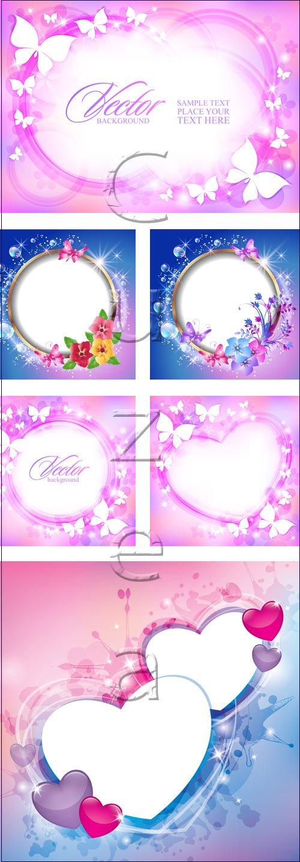 Сверкающие рамки с сердцами и цветами / Shine frames with hearts - vector stock