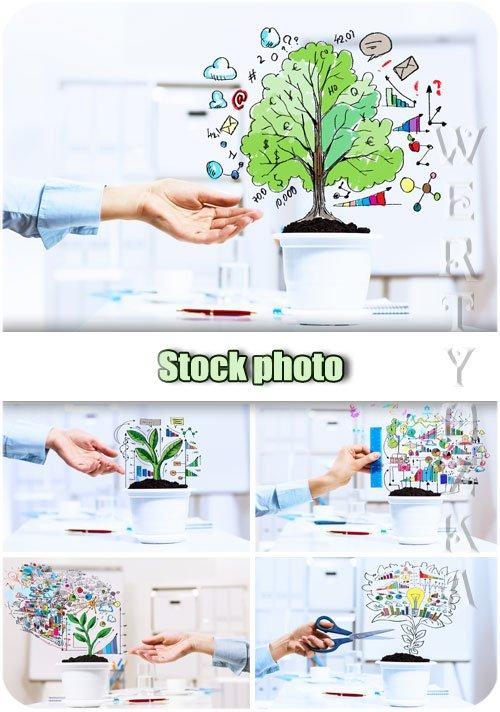 Бизнес планы, успешность, рост / Business plans, success, growth - Raster clipart