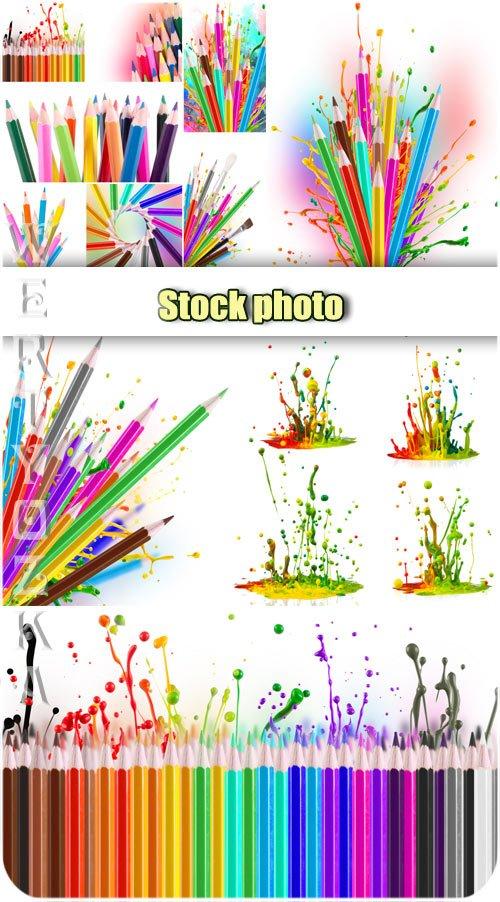 Цветные карандаши,  брызги краски / Colored pencils, splashes paint - Raster clipart