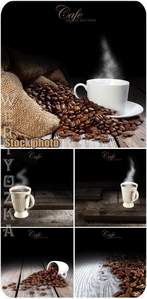 Кофе, чашка с кофе, кофейные зерна / Coffee, cup of coffee, coffee beans - Raster clipart